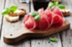 Delicious salami with basil and wine, se