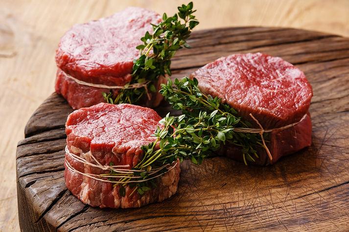 Raw fresh marbled meat Steak filet migno