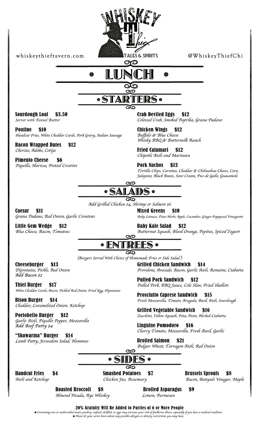 whiskey thief tavern evanston menu