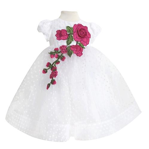 rochita botez tul buline lunga floare roz