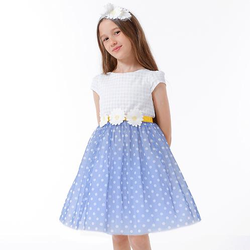 rochita fete tul buline albastru margarete vara