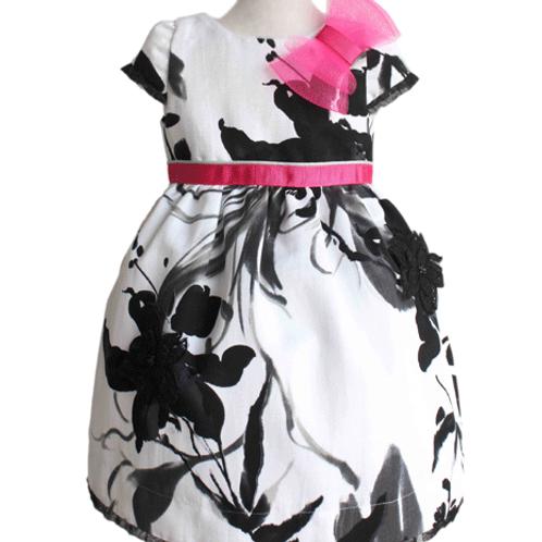 rochie fete alb negru cu fuscia