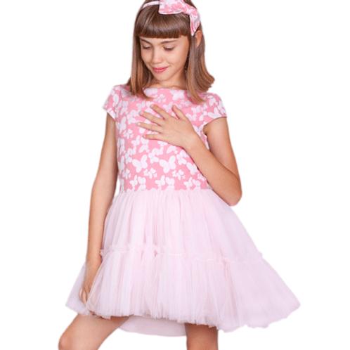 rochita fete fluturi roz tul