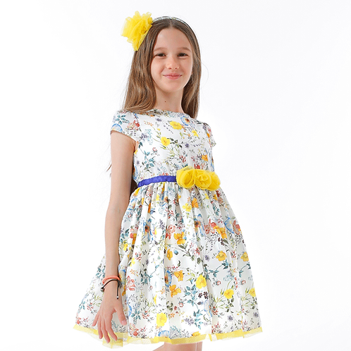 rochita fete colorata flori galben albastru