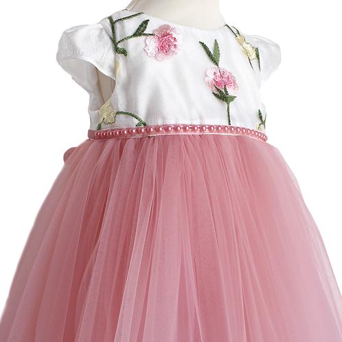 rochie botez cu trena tul brodat rochita