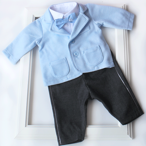 Costum botez baiat bleu
