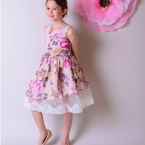 rochita fete flori tul cu dantela