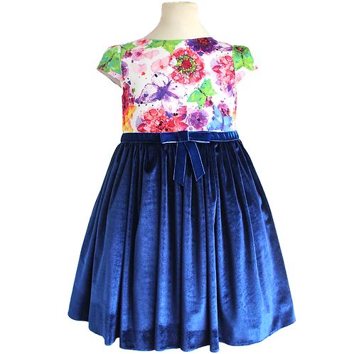 rochie fete bumbac fluturi flori catifea albastra