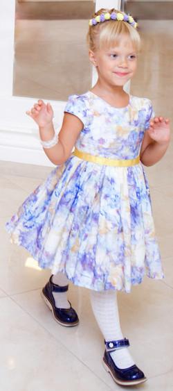 rochita fete albastra matase