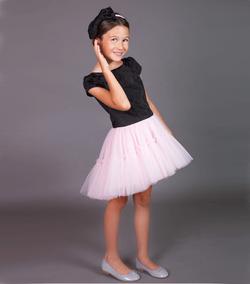 rochie fetite ceremonie sarbatoare petrecere zi de nastere tul roz brocard