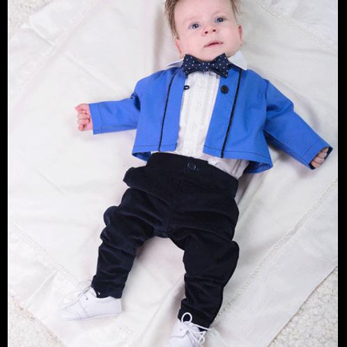 pantaloni catifea bleumarin botez bebe
