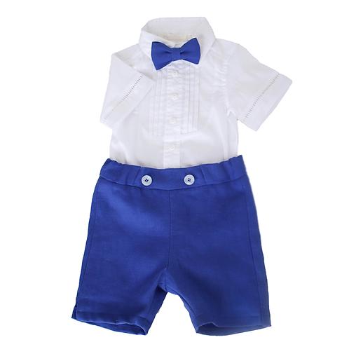 costum baieti botez vara camasa pantaloni albastri