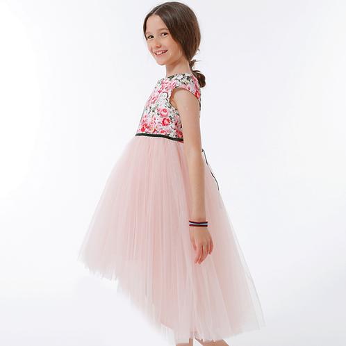 rochita colorata trandafiri trena lunga tul roz