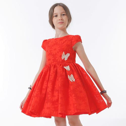 rochita fete flori rosu corai volum ocazii speciale