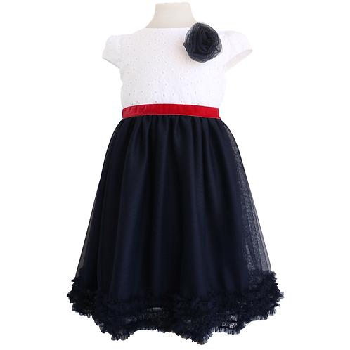 rochie brodata tul bleumarin volane fete ocazii speciale