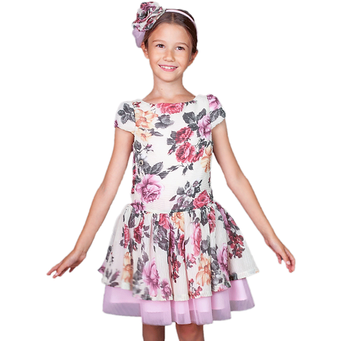 rochita fete tul roz flori