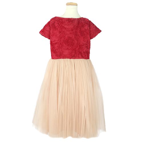 rochita fete craciun rosu bej nude tul