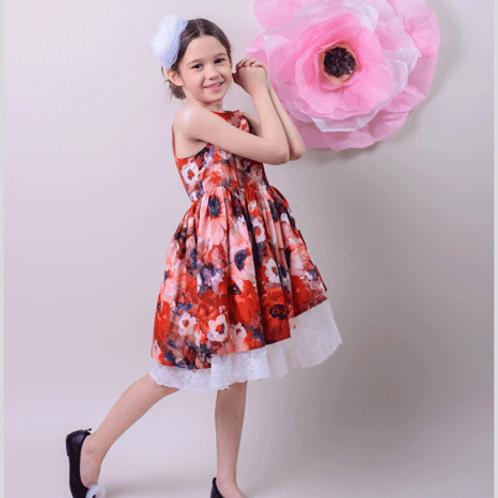Rochie fete flori rosii tul dantela