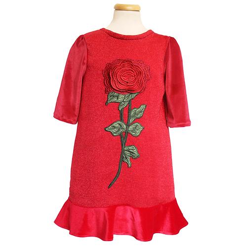 rochie fete rosie catifea floare trandafir