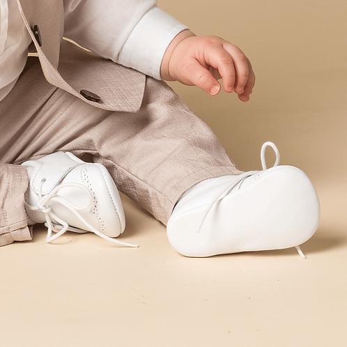 pantofi botez bebe baiat albi piele