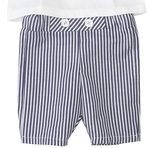 pantaloni botez scurti dungi bleumarin