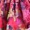 rochita bebe botez organza flori roz fucsia