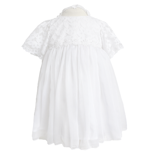 rochie botez vara alba dantela voal