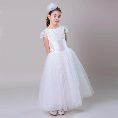 rochie domnisoara de onoare alba lunga tul matase nunta