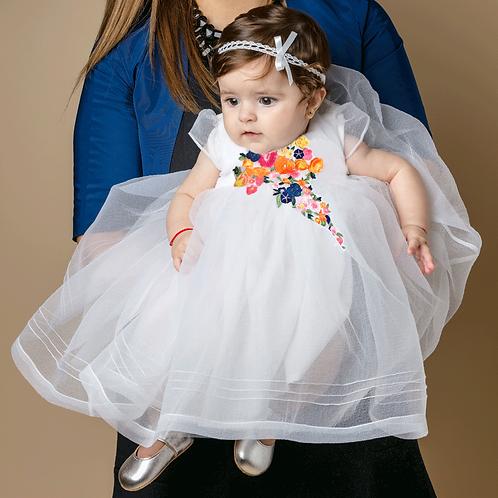 rochita botez organza alba aplicatie floare