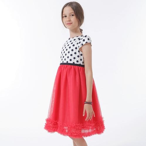 rochie fete tul rosu corai buline