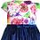 rochita fete bumbac fluturi flori catifea albastra