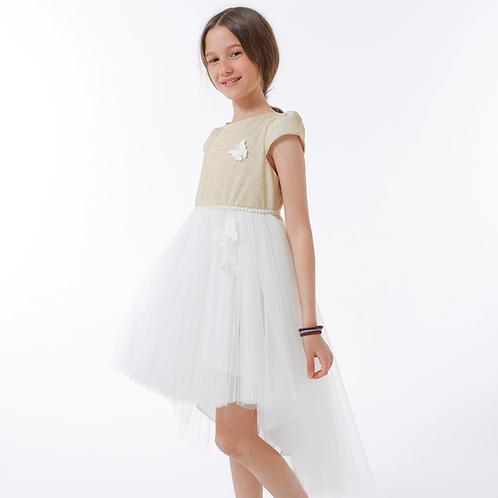 rochie fete auriu alb tul trena