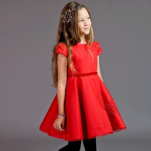 rochite fete rochie rosie tul dantela aplicata