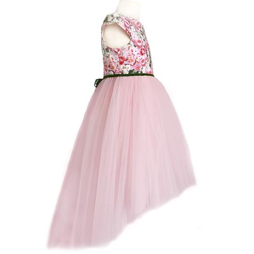 rochita colorata botez trena lunga tul roz