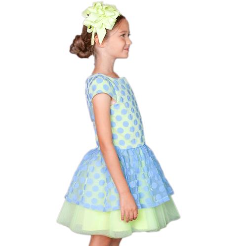 rochie fete organza albastra tul verde
