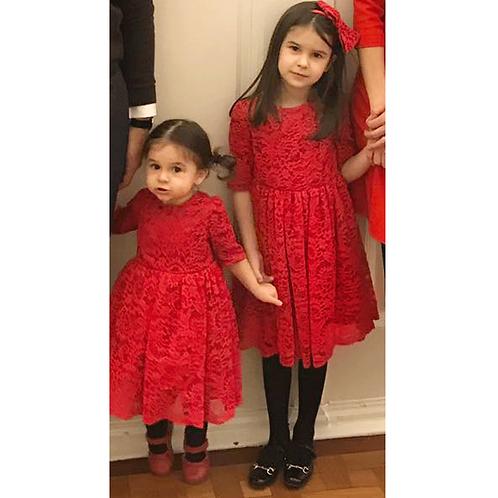 rochita fete dantela rosie