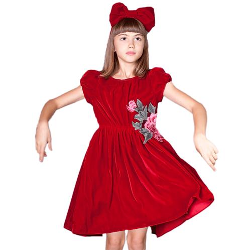 rochita fete catifea rosie floare aplicata
