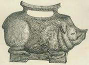 Метавфора в дизайне гиря в форме свиньи