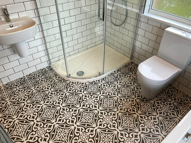 Tiled bathroom and shower enclosure