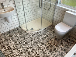 Tiled bathroom and shower enclosure