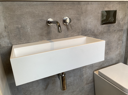 Wall mounted bathroom tap and basin