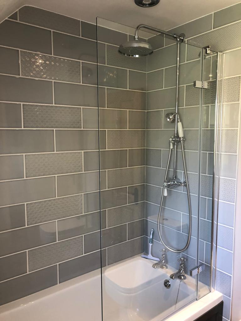 Tiled Shower Over Bath