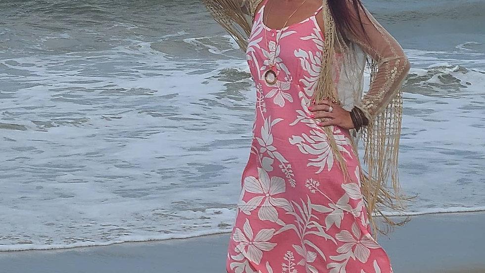Eye catching pink sun dress! Beach-ready! Size M/L. Professionally  cleaned.