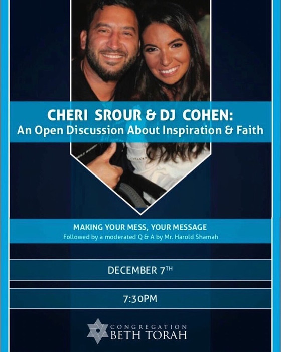 Join us in Support of our Friends Cheri Srour & DJ Cohen for a night of inspiration