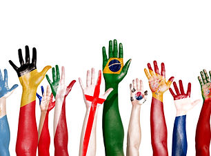 Diverse Hands Painted With National Flag