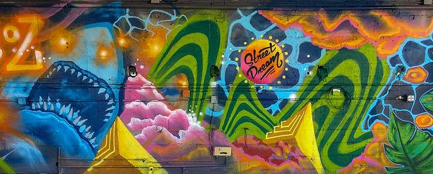shark jungle leaves tropical mural painting