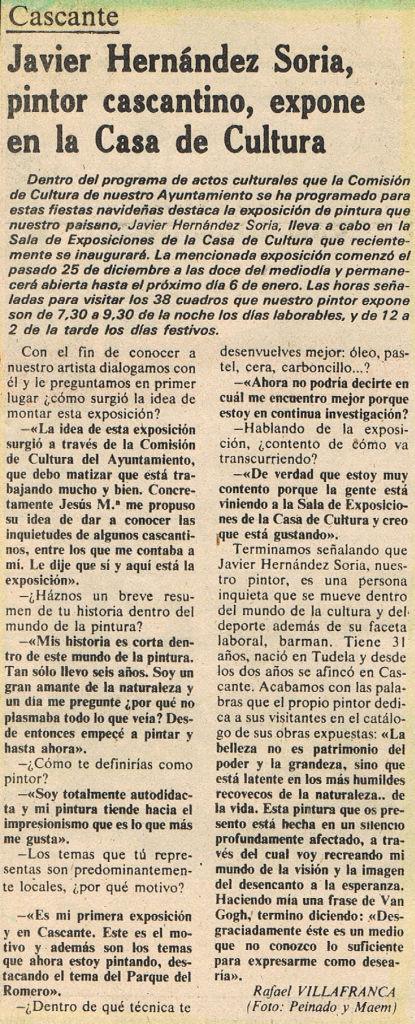 1981.12.31.dn. javier hernandez soria, pintor cascantino, expone en la casa de l