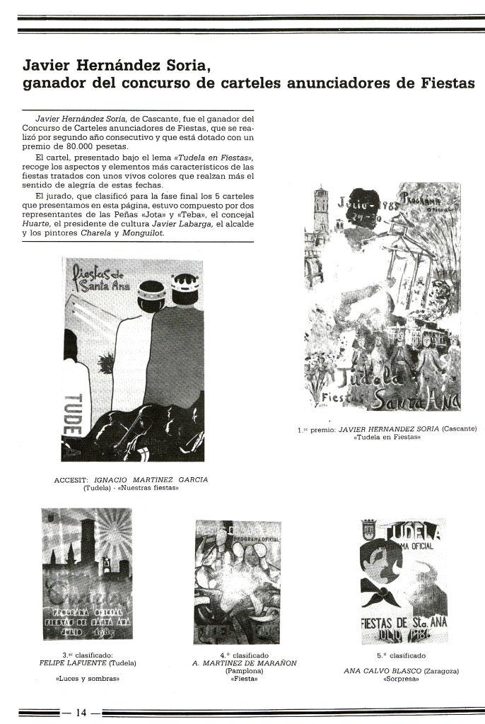 1985. javier hernandez soria, ganador del concurso de carteles anunciadores de f
