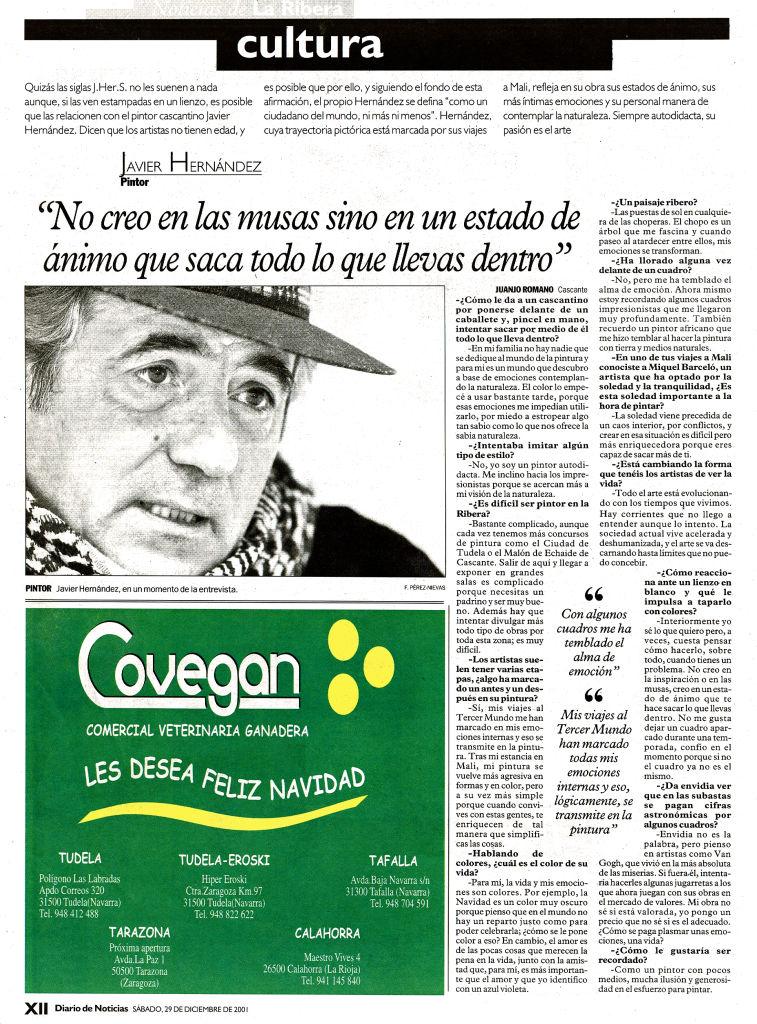 2001.12.29.diario de noticias. no creo en las musas sino en un estado de animo q