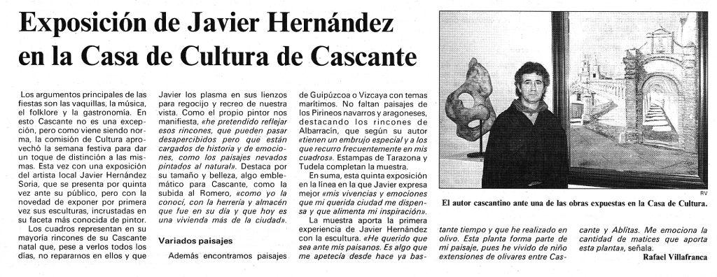 1997.09.22.dn. exposicion de javier hernandez en la casa de cultura de cascante